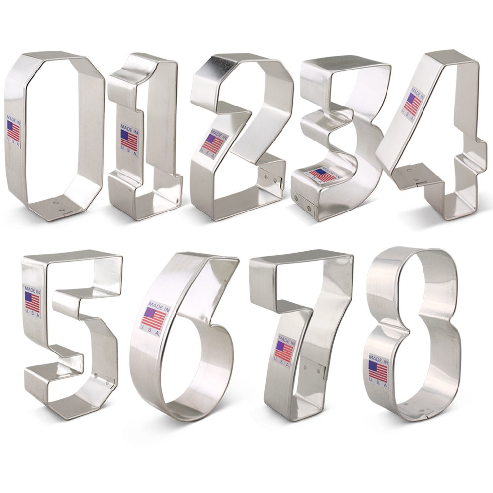 Numbers Cookie Cutter Set - 9 piece - Ann Clark - Tin Plated Steel Ann Clark Cookie Cutters A6-172