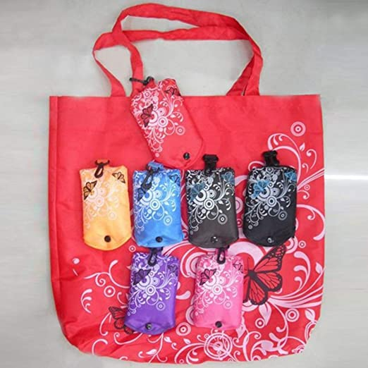 alignmentpai Foldable Floral Large Capacity Shopping Handbag Grocery Storage Bag Tote Pouch Black