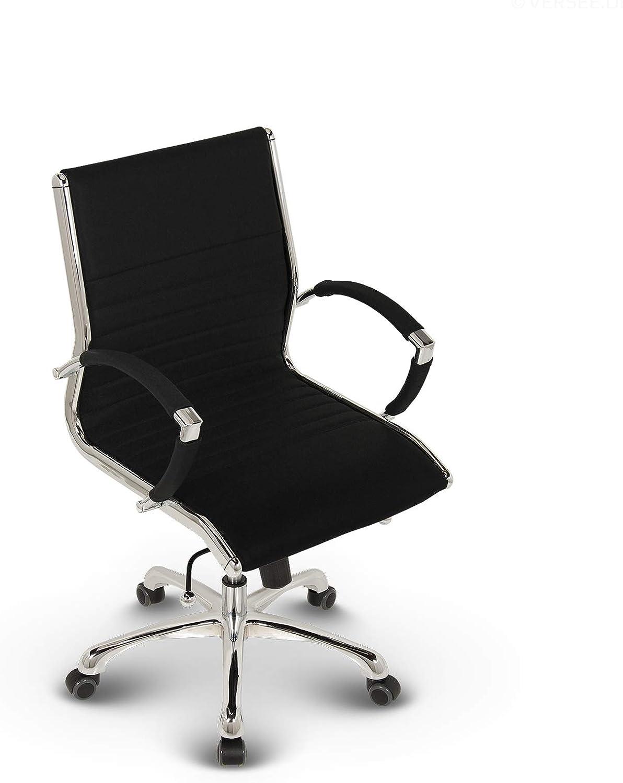 VERSEE Design B/ürostuhl Montreal hochwertige Verarbeitung Echt-Leder Drehstuhl Meetingstuhl Konferenzstuhl 150 kg belastbarkeit B/ürodrehstuhl blau Schreibtischstuhl Designklassiker
