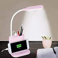 LED Desk Lamp, NovoLido Rechargeable Desk Lamp with USB Charging Port & Pen Holder, 2 Color Modes & Stepless Dimming…