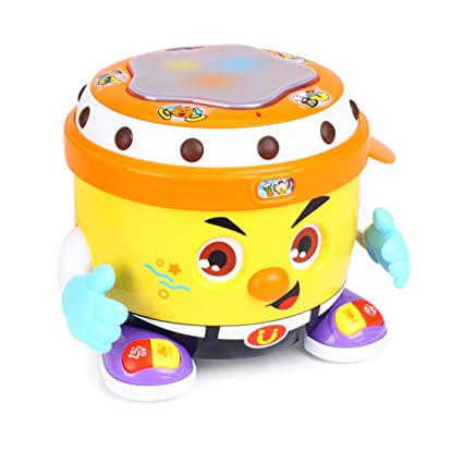 fisca Baby Musical Drum Toys, Learning Educational Toy for Baby & Toddler -  Electronic Drum Instruments Set with Lights for 1 2 3 Year Old Boys and