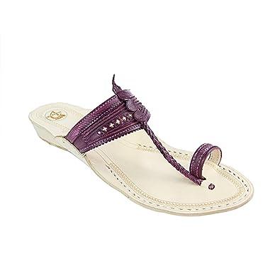 ac0405092bd Image Unavailable. Image not available for. Color  KOLHAPURI CHAPPAL  Original Beautiful Look Purple Platform Heel Ladies Slipper Sandal