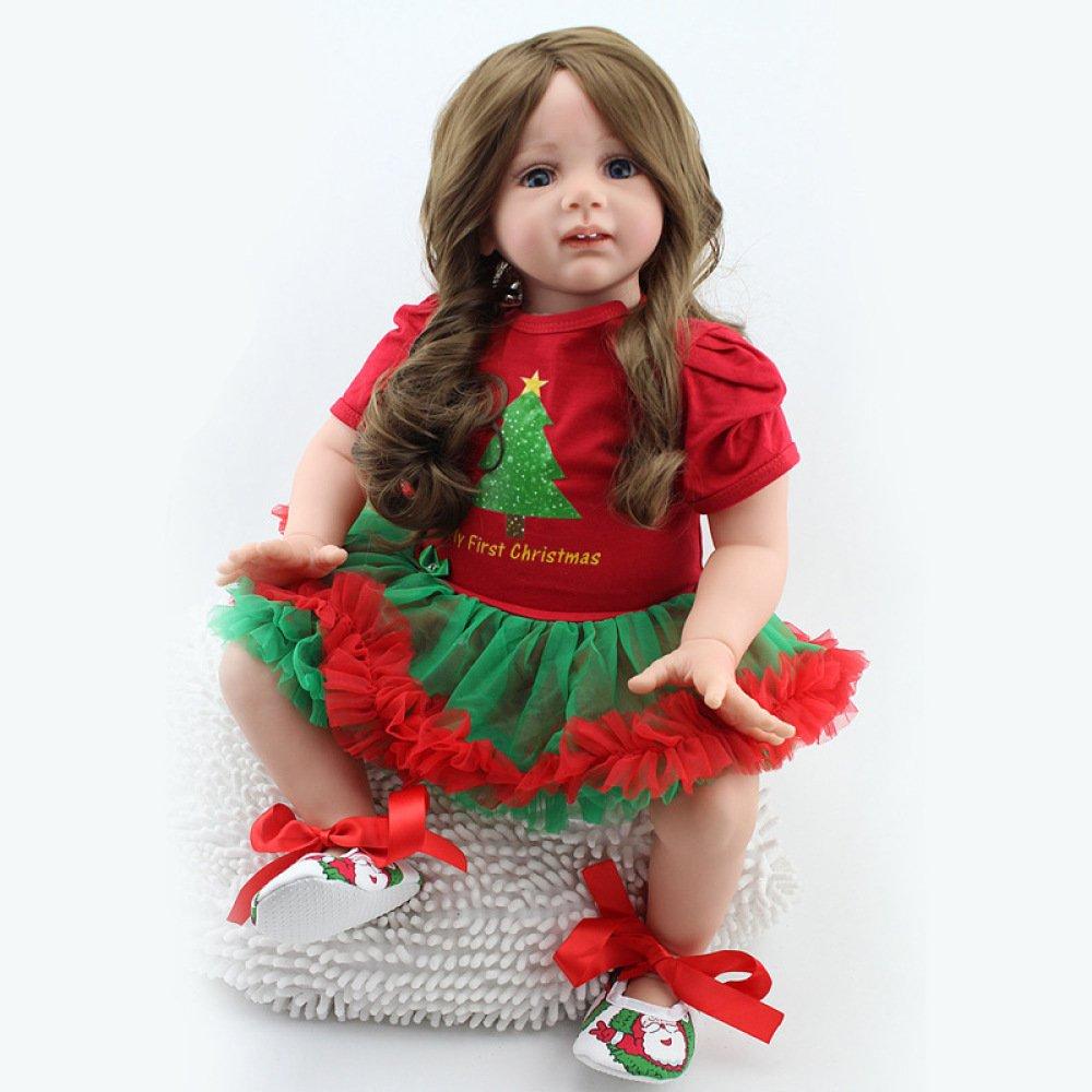 QXMEI Rebirth Puppe 60cm Simulation Baby Kleidung Modell Mädchen Urlaub Geschenk Geschenkbox Spielzeug 24 Zoll