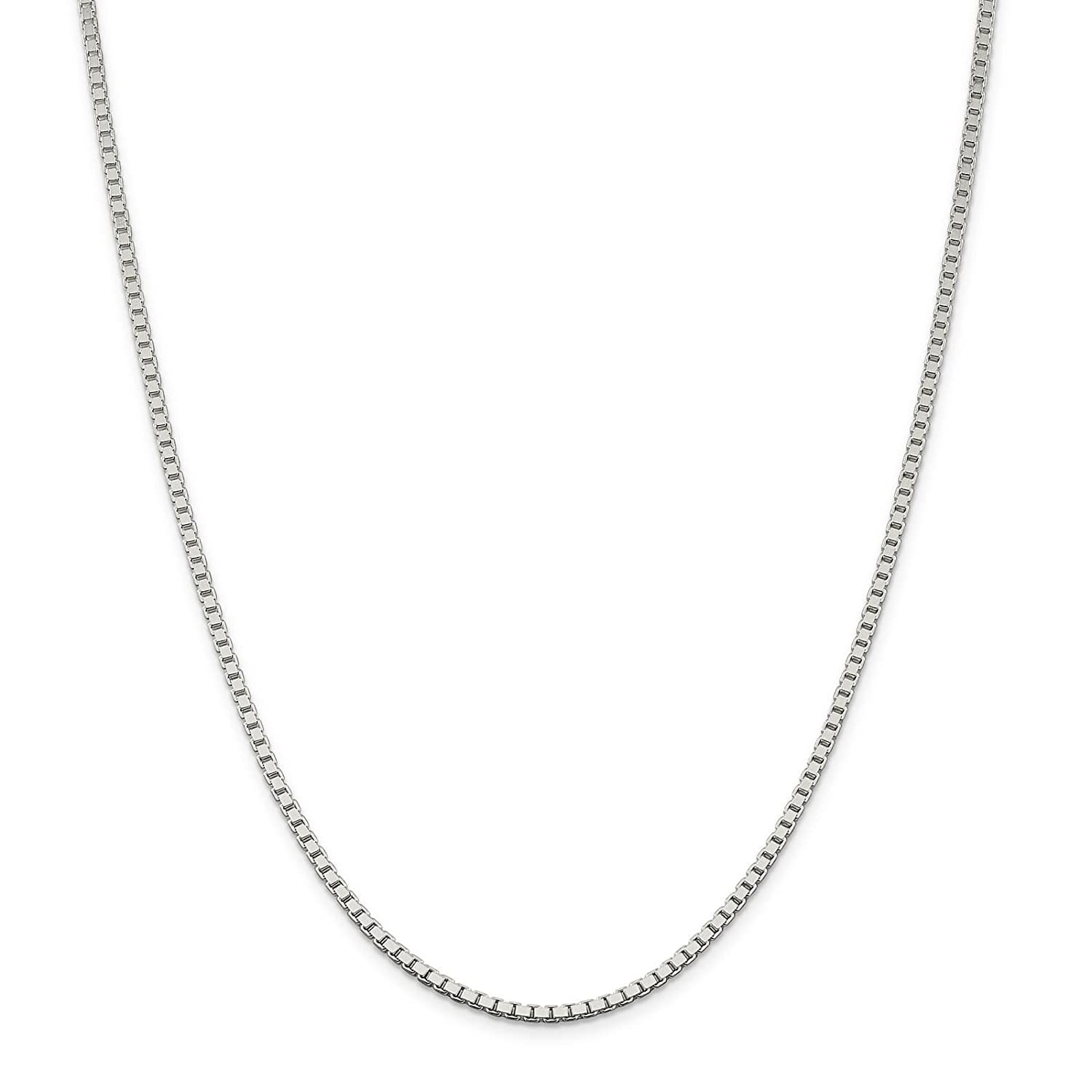 925 Sterling Silver Solid 2.5mm Polished Box Chain Necklace 7-30