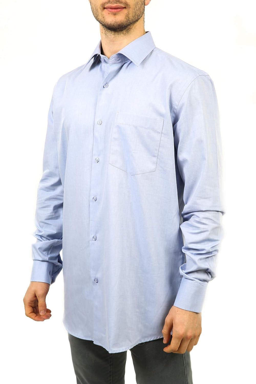 COVERI WORLD Camicia Uomo Collo Classico 100/% Cotone Tramato Azzurro 7 Taglie