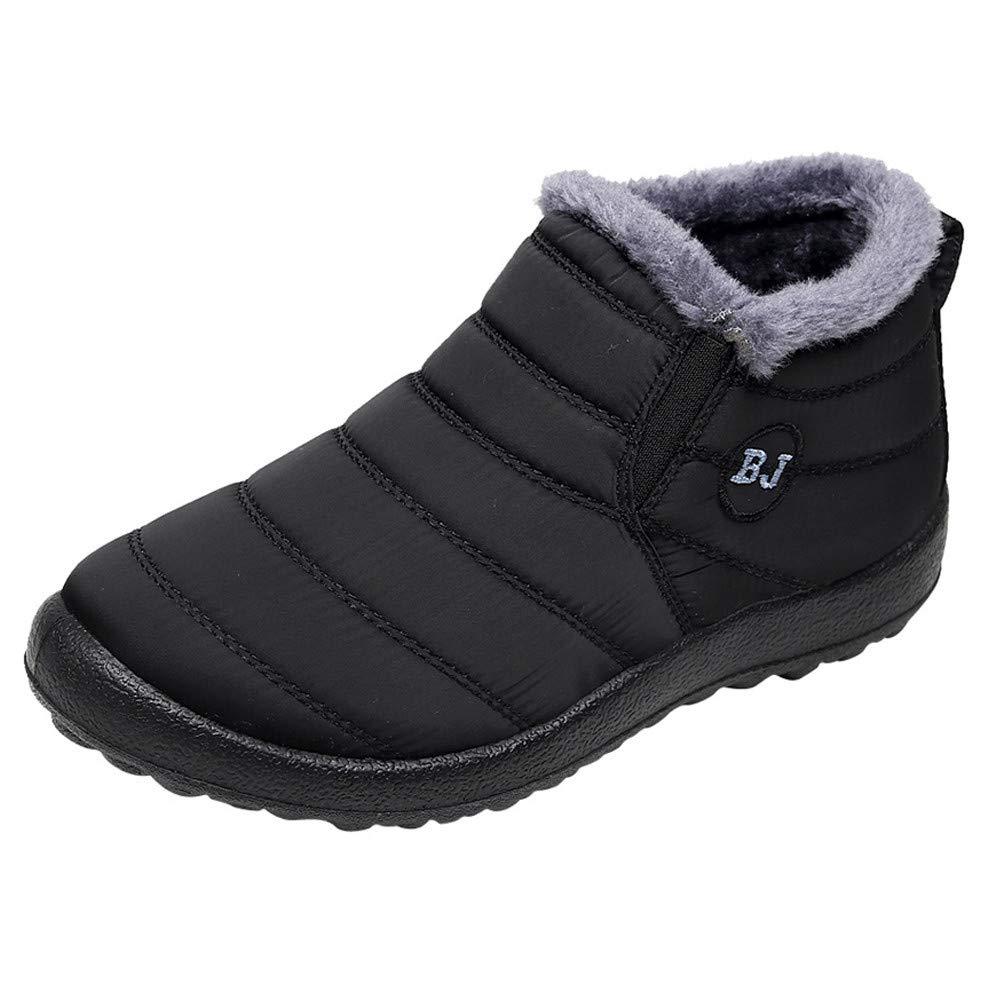 〓COOlCCI〓Men'sWomen's Winter Snow Boots Warm Fur Lined Ankle Boots Fashion Anti-Slip Waterproof Light Weight Sneakers