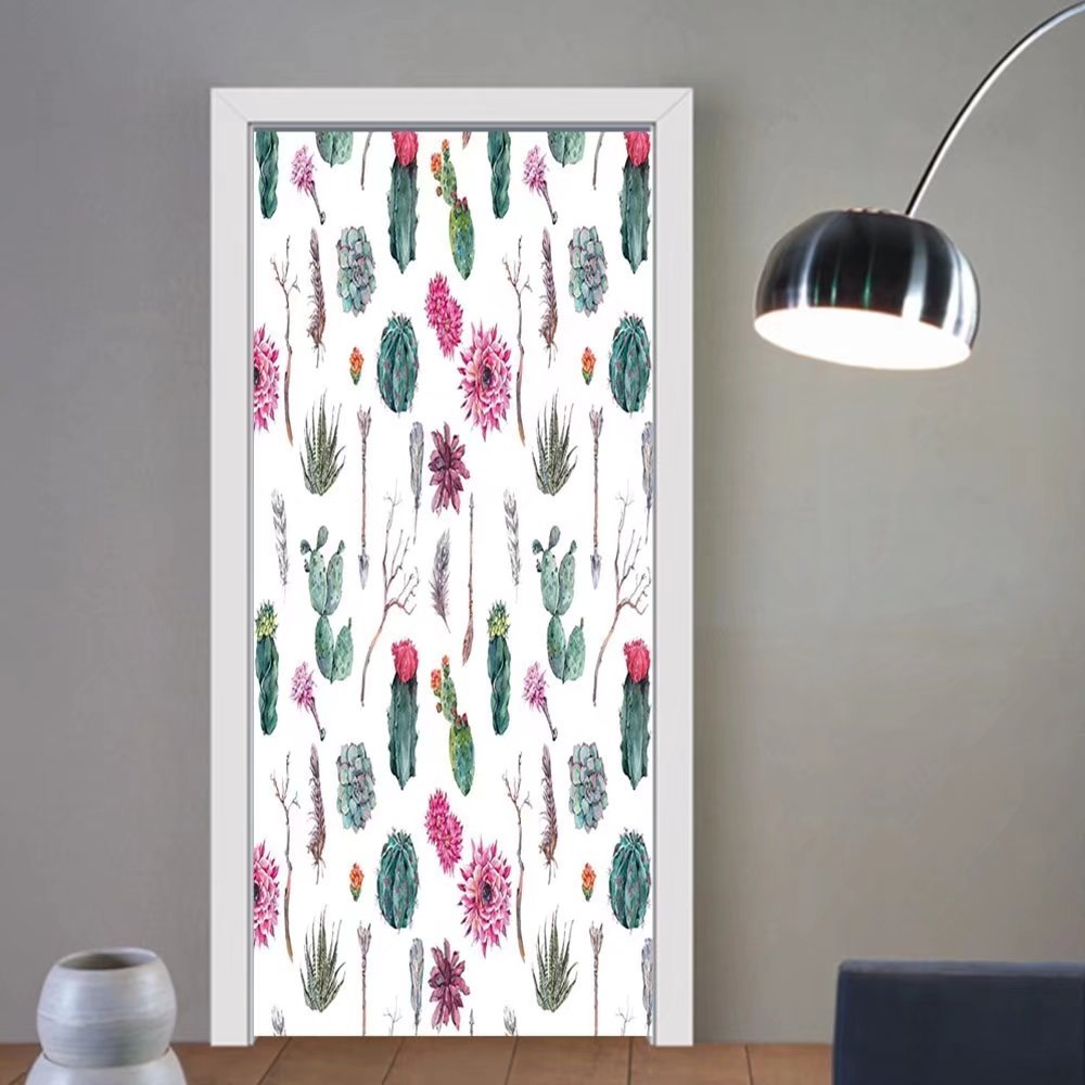 Gzhihine custom made 3d door stickers Cactus Decor Vintage Botanical Pattern Arrows Feathers Succulent Twigs Hawaii Spring Tropic Multicolor For Room Decor 30x79