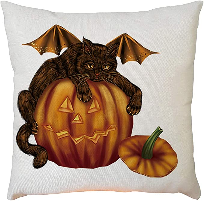 Halloween Calabaza Calavera Funda para Almohadón Algodón lino Cubierta Cojín Sofá Tirar-Wi