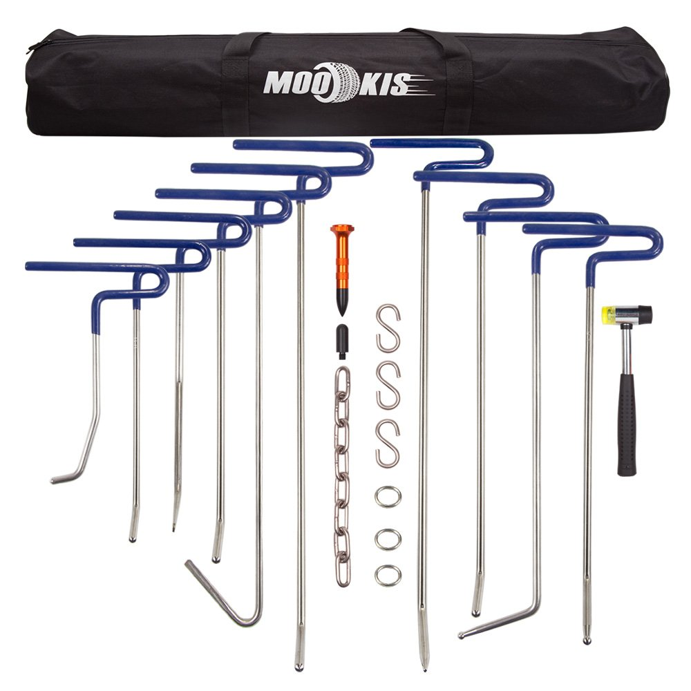 Mookis PDR Rods Set Paintless Dent Repair Tools PDR Rods for Car Dent Remover Puller Hail Damage Repair Kit (B2-B11)