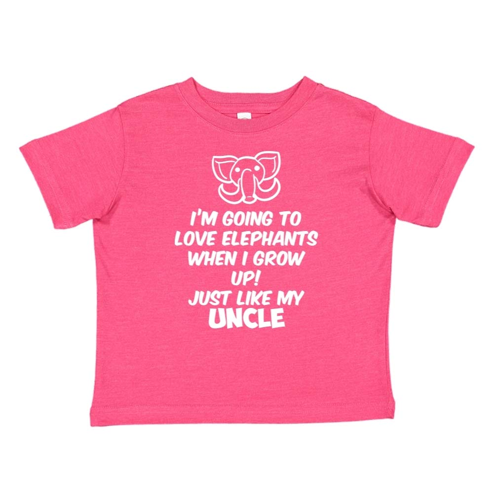 Im Going to Love Elephants When I Grow Up Toddler//Kids Short Sleeve T-Shirt Just Like My Uncle
