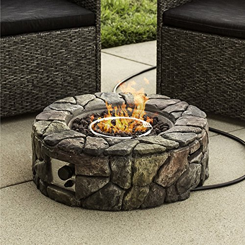 Round Rock Fire Pit - Best Choice Products Home Outdoor Patio Natural Stone Gas Fire Pit for Backyard, Garden - Multicolor