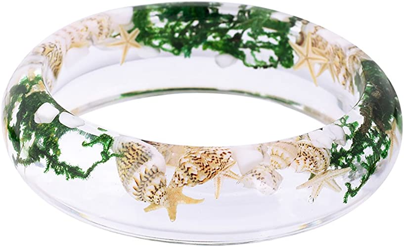 Natural Dry Flower Bracelet Resin Plastic Acrylic Chunky Statement Bangle For Women Girls MotherS Day Gifts Costume Wrist Cuffs Tropical Jewelry