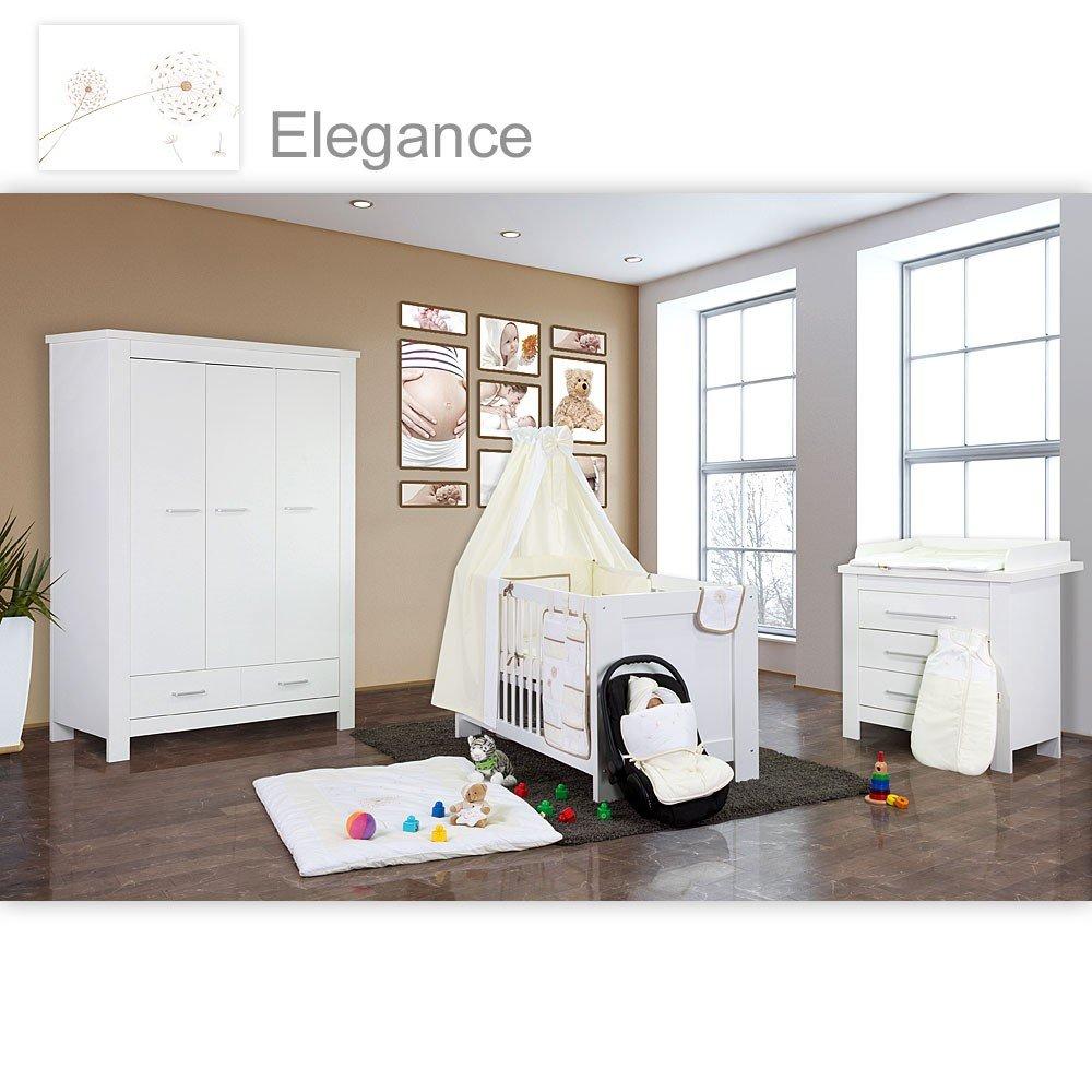 Babyzimmer Enni in weiss 10 tlg. mit 3 türigem Kl. + Textilien von Elegance