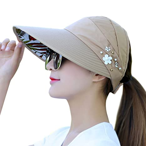 f5a36006838 Amazon.com  Hosaire Summer Women s Sun Hats Roll up Wide Brim Sun Visor UPF  50+ UV Protection Beach Straw Hat Visor Hat with Wind Rope  Sports    Outdoors