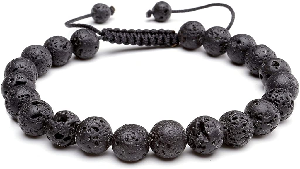 Jovivi 8MM Birthstone Gemstones Healing Power Crystal Macrame Adjustable Beaded Bracelet, Unisex