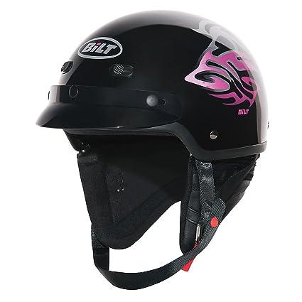 Amazon Com Custom Bilt Women S Raven Motorcycle Half Helmet Xs