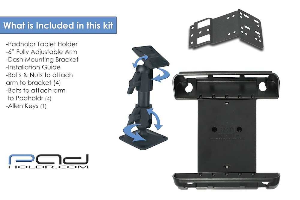 Padholdr Ram Series Spring Loaded Holder 2007-2012 Acura MDX for iPad and Other Tablets Pad Holdr PHR75116-307