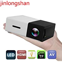 Mini LED Projector, Children's HD Portable Projector, Projector with USB Charging Support, Built-in Projector Speaker, Compact Video YG-300 Projector with Multiple Ports (Black)