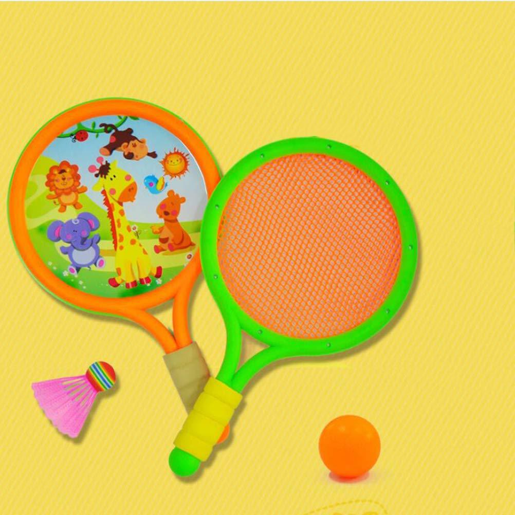 LIOOBO Juego de Bolas de Raquetas de Tenis de b/ádminton de pl/ástico Juego de Deportes Entre Padres e Hijos