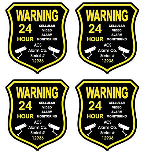 4 Pc Magnificent Unique Warning 24 Hour Cellular Video Alarm Monitoring GPS Security Sticker Sign Recording Boat Decals Outdoor Business Hr Surveillance Under Cameras Protect House Size 3.5x4