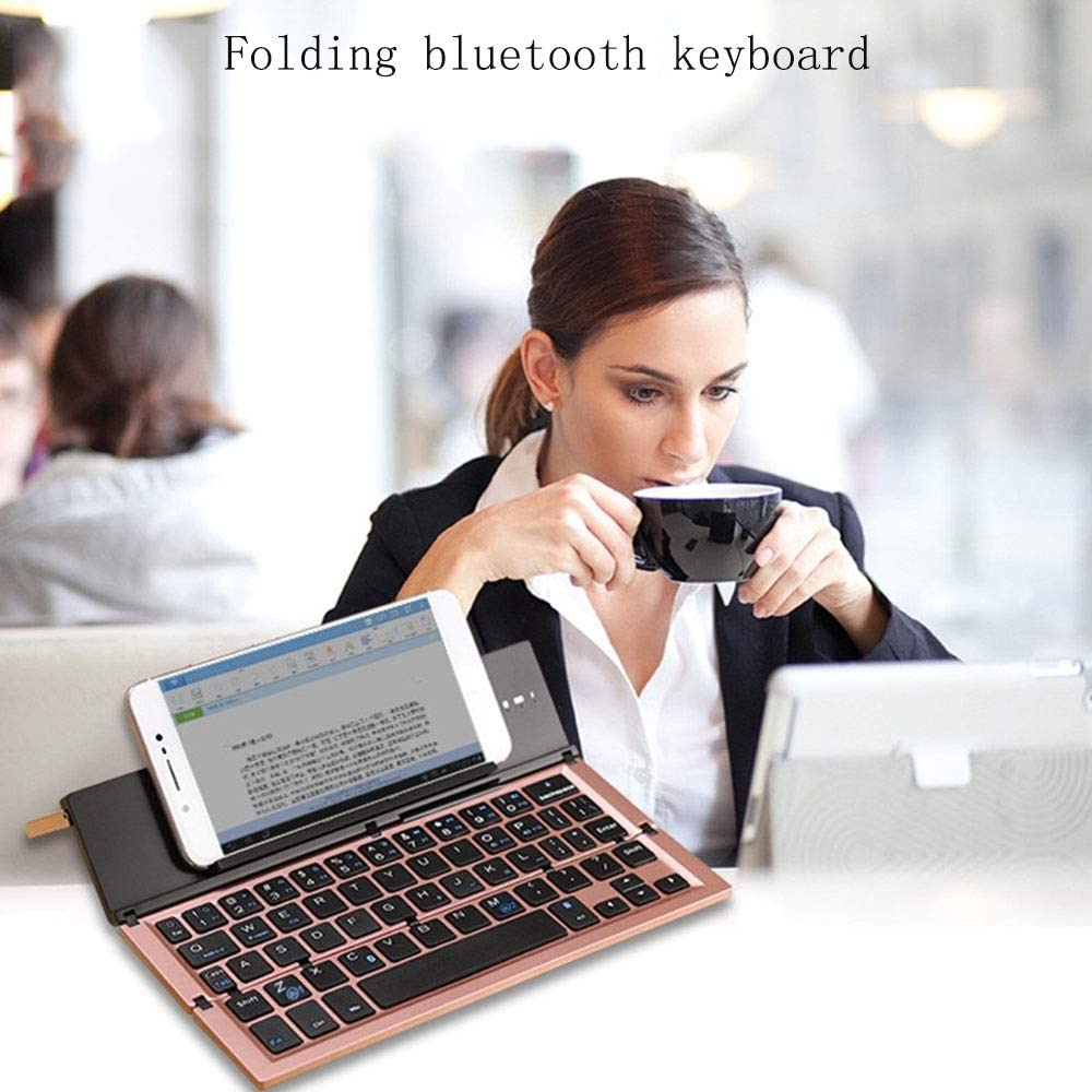Feel Good and React Fast Three Fold Bluetooth Keyboard Roving Phone Tablet Portable Miniskirt iOS Android Universal Keyboard JIADUOBAOSEN Color : Rose Gold