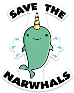 """Unicorn Whale Sticker Decal Funny Save The Narwhals 4"""" x 3.1"""" for Laptop Water Bottle Phone car"""