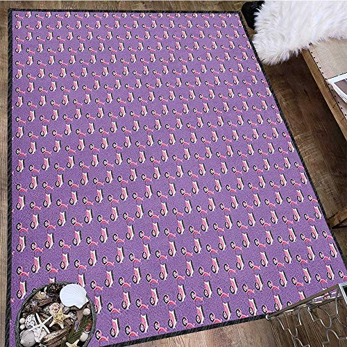 Motorcycle Geometric Area Rug,Vintage Deep Deck Girlie Scooters Lined Up on a Purple Background Suitable for Home Decor Blush Dark Taupe Lavender 63