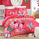 quilting material organic - Flying Butterfly Bedding Duvet Cover Sets 100% Cotton Queen 4-Piece