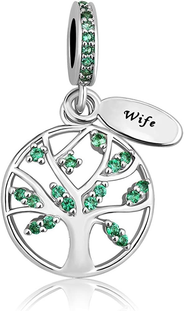 CoolJewelry Family Tree of Life Charms for Mom Wife Family Beads Compatible with Bracelets /& Necklaces