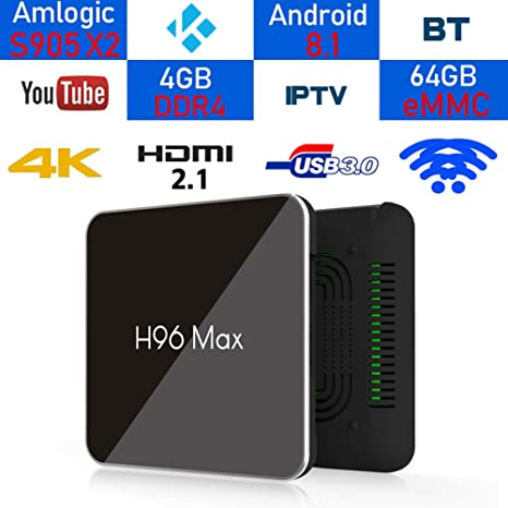 4GB DDR4 64GB Android TV Box 8.1, LinStar H96 Max Smart TV Box Amlogic S905X2 Quad Core Quad Core A53 a 2GHz 2.4G / 5G Dual Wifi Bluetooth 4.0 Set Top Box