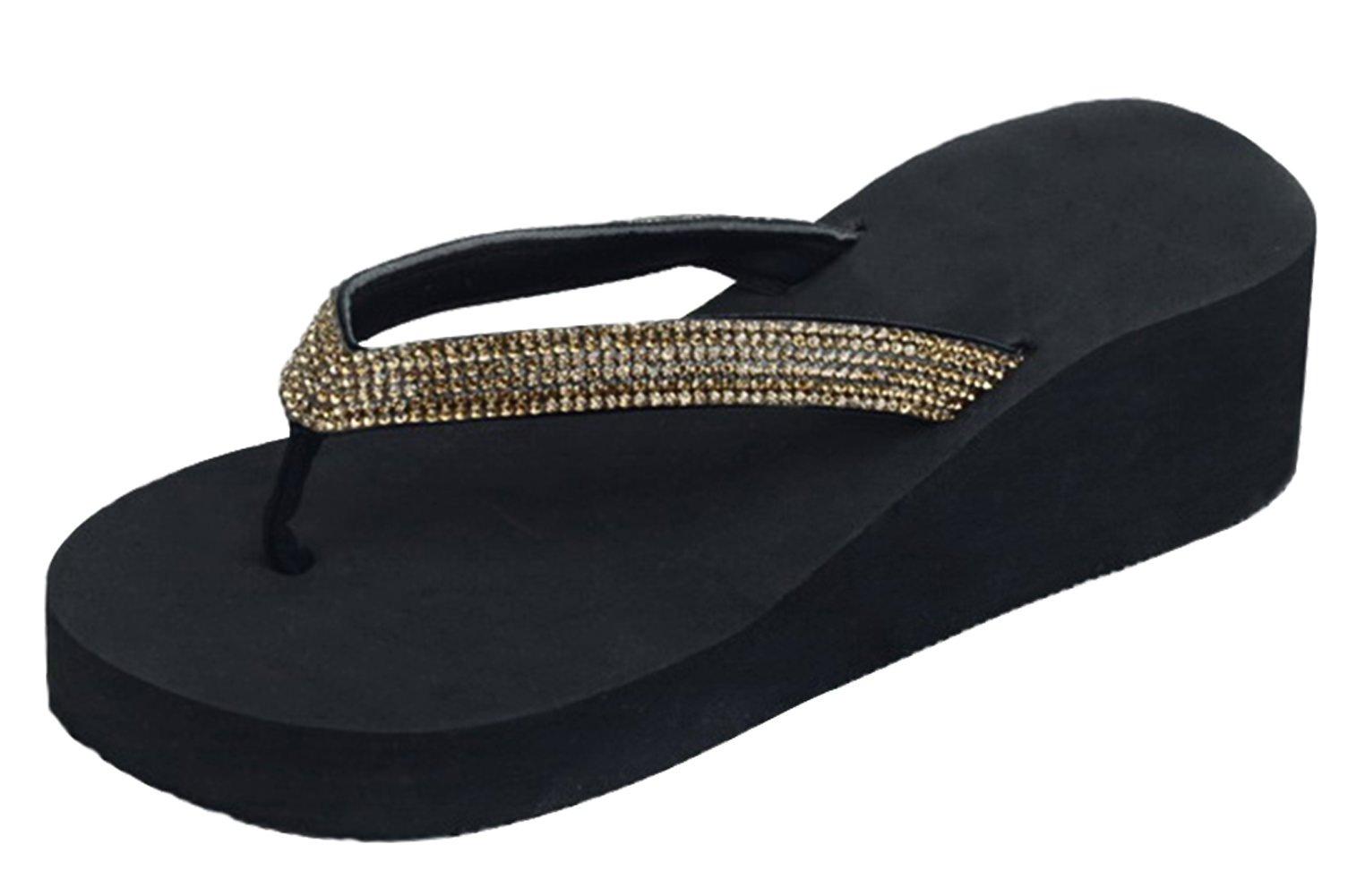 Top Arla Gold Platform Wedge Women Sandal New Prime Pretty Rhinestone Bling Open Heel Bedazzled Designer Pool Summer Slip On Slipper for Sale Teen Girl Ladies (Size 10, Gold)