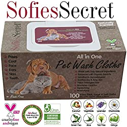 SofiesSecret Pet Wipes for Dogs+Cats ALL IN ONE,PP LID 100 Count, 100% Natural & Organic Extracts, Extra Thick, Ultra Soft, Extra Large,Hypoallergenic, Cruelty Free & Vegan