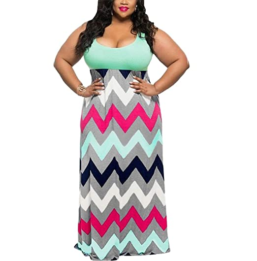 Suimiki Women S Plus Size Scoop Neck Chevron Printed Maxi Long Dress