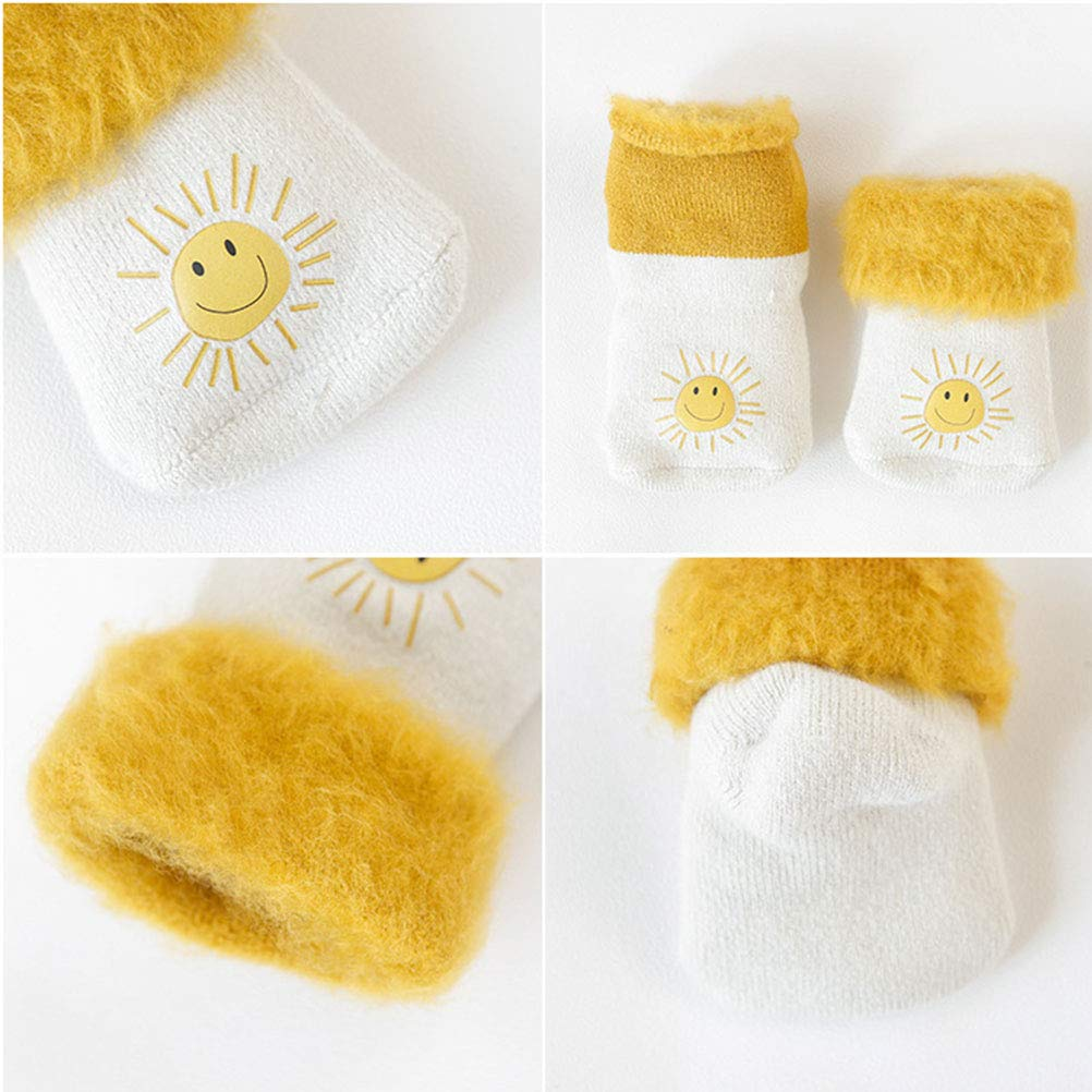 YUNHAO 3 Pack Newborn Unisex Baby Toddler Boy Girl Turn Cuff Socks Grips Plus velvet thick warm for 0-36 Months Baby