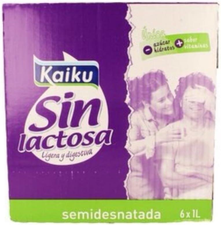 Pack de 6 Leche Kaiku Semidesnatada Sin Lactosa 1L: Amazon.es: Alimentación y bebidas