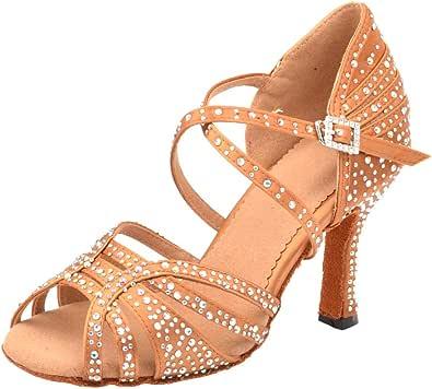 Cygnus Women Rhinestone Satin Ballroom Dance Shoes Latin Salsa Tango Practice Ballroom Dance Shoes with Soft Suede Sole/Z26