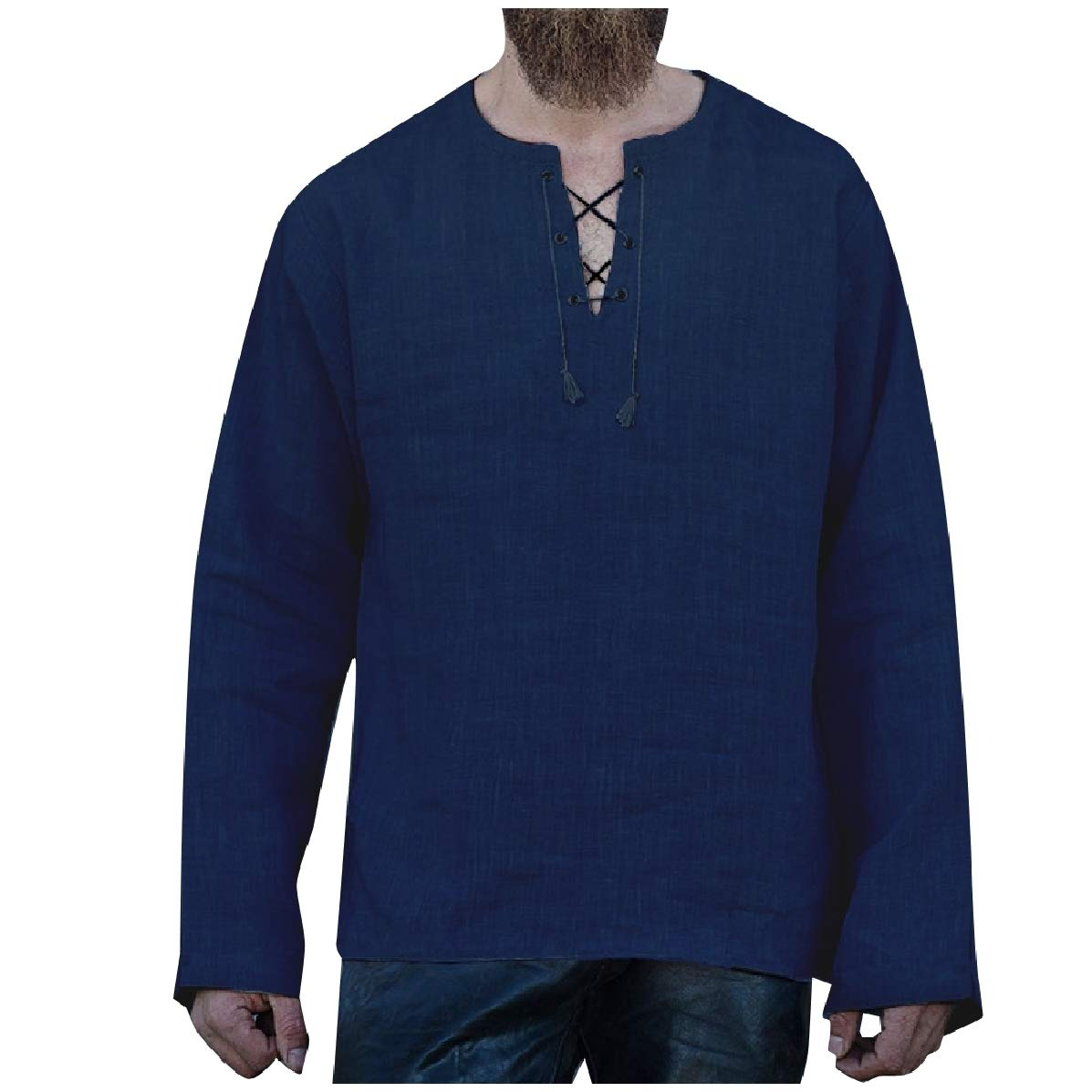 YUNY Men V Neck Ethnic Style Loose Solid-Colored Relaxed Tees Top Navy Blue S