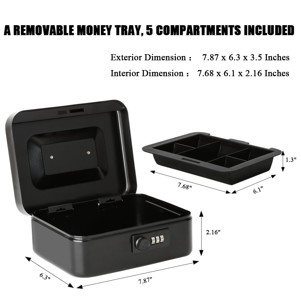 Jssmst Small Cash Box with Combination Lock – Durable Metal Cash Box with Money Tray Black,7.87 x 6.3 x 3.35 inches, CB0701M by Jssmst (Image #3)