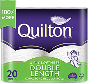 Quilton 3 Ply Double Length Toilet Tissue (360 Sheets per Roll, 11cm x 10cm), 20 count, Pack of 20