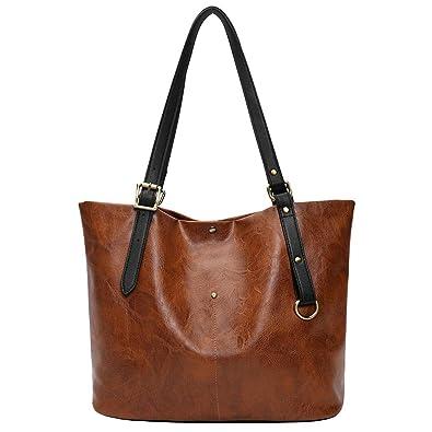 40feb085dad58 Bageek Handtasche Damen Handtaschen Shopper PU Leder Umhängetasche Damen  Groß Damen Taschen Kunstleder (Braun)