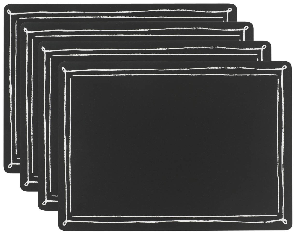 Now Designs Cork-Backed Hard Placemats, Set of Four, Chalkboard