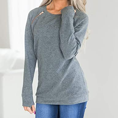 Amazon.com: Preferential New Zlolia Women Fashion Basic Solid O-Neck Long Sleeve Zipper T-Shirt Blouse Pullover Sweatshirt: Clothing