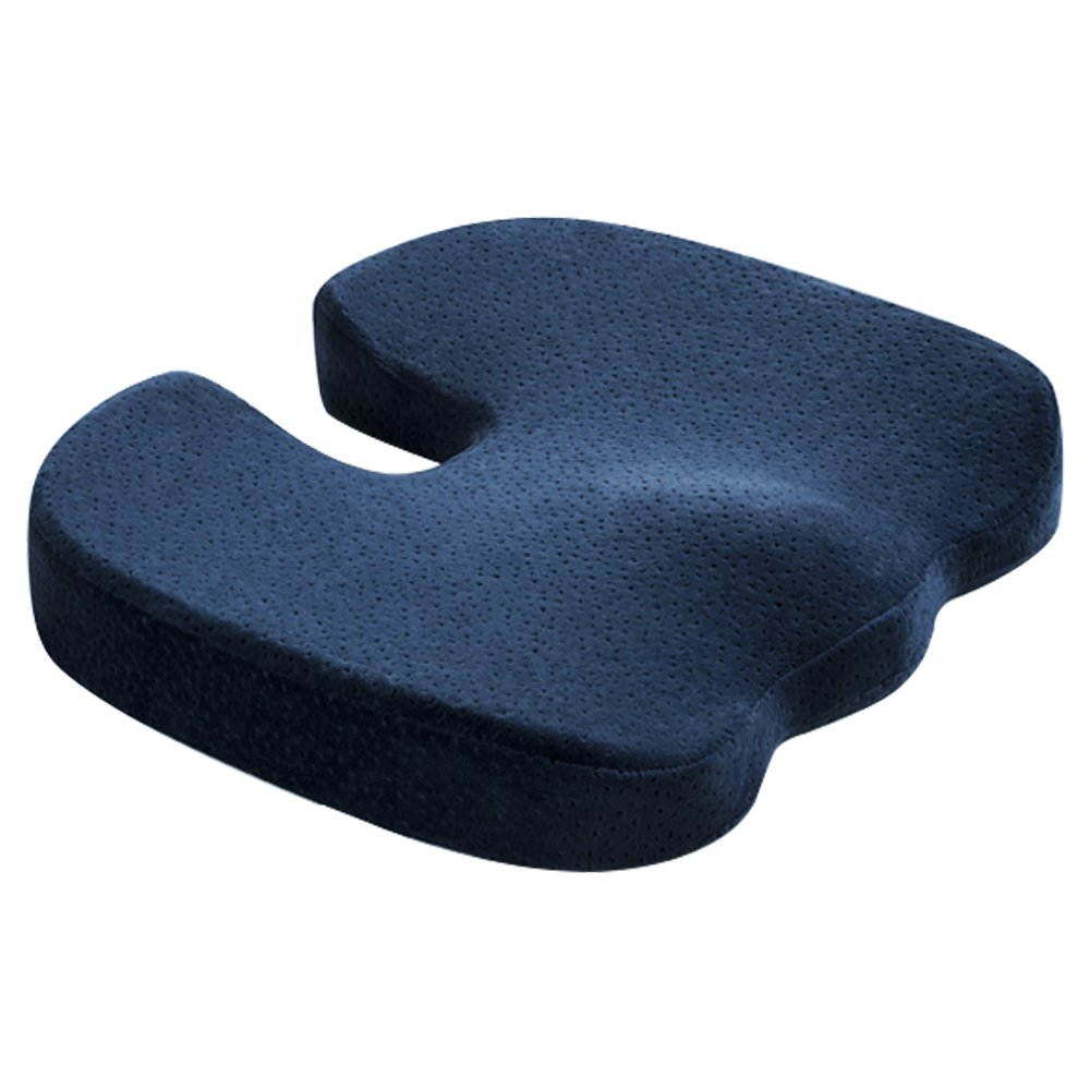 Aook Orthopedicメモリーフォームシートクッション椅子パッドfor Back Pain Relief、座骨神経痛とTailbone Pain – Ideal For Office Chair and Car Driver Seat枕 ブルー B07BWD7M5D インディゴ インディゴ