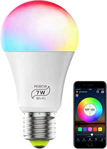 Smart Light Bulb No Hub Required, Magic Hue RGBCW A19 E26 7W (60w Equivalent) Multicolor Dimmable Smart LED Lights, Works with Alexa Google Home and Siri