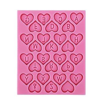 Sulida 1 Molde de silicona Me encantan las letras en inglés Letra del alfabeto en las galletas del corazón Diseño de la torta Fiesta de cumpleaños Fiesta ...