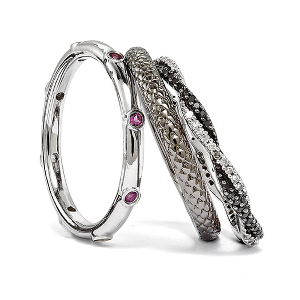 Two Tone Sterling Silver, Rhod. Garnet & Diamond Stackable Ring Set (I3 Clarity, H-I Color) Size 7