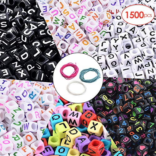 Souarts 1500pcs 6 Styles Square Acrylic Alphabet Letter and Number Beads for Bracelet Jewelry Making with 10M String Cord ()