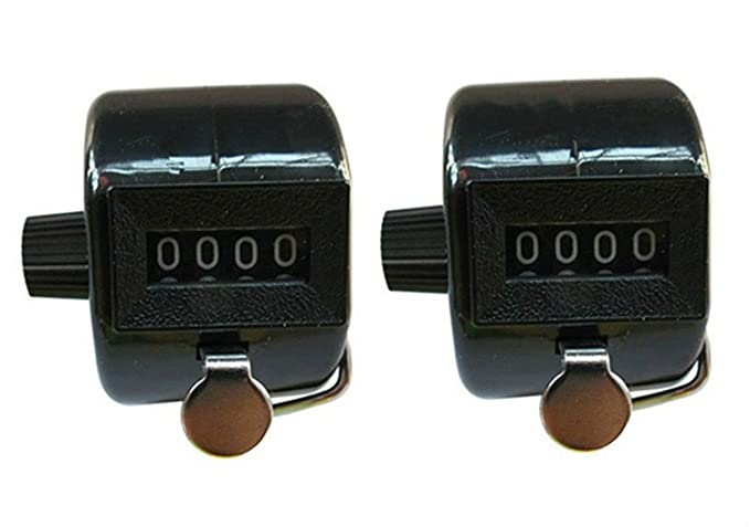 Pack of 2 Hand Held ABS Plastic Tally Counter Mountable