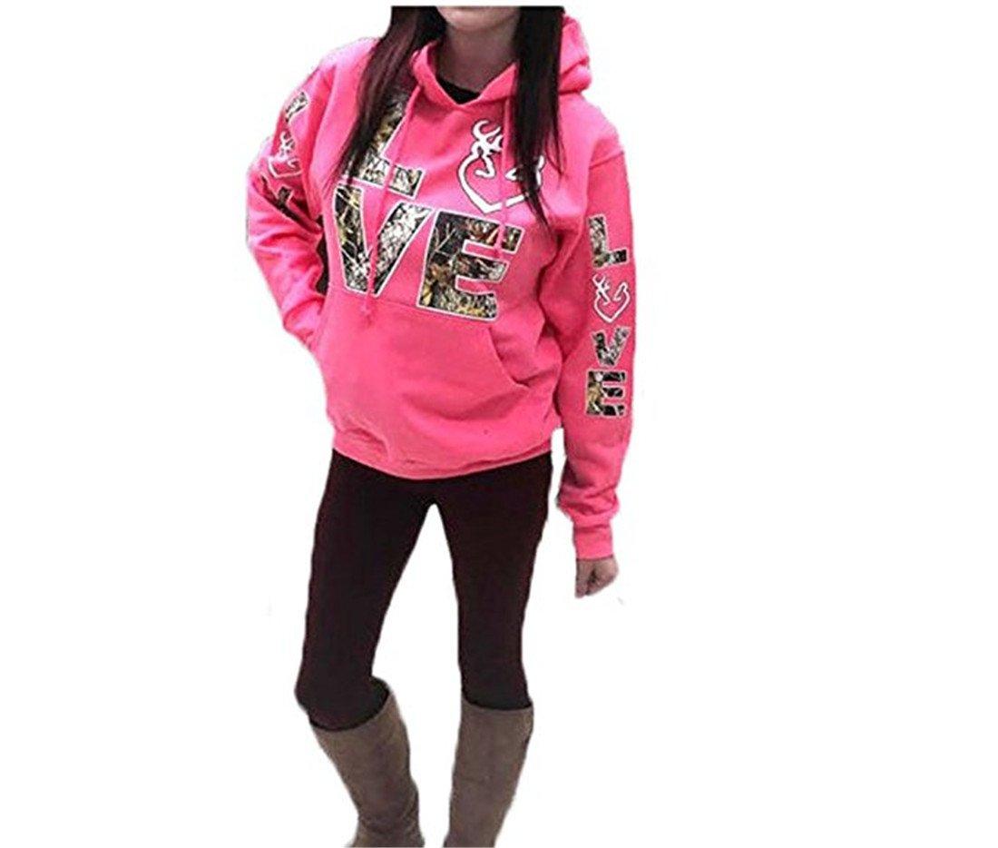 FCYOSO Women's Long Sleeve Love Printed Kangaroo Pocket Hoodie Sweatshirt Pink X-Large