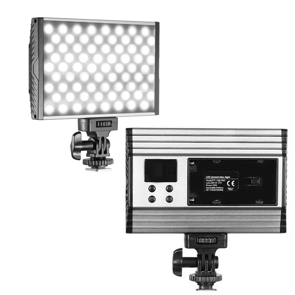 Led Video Light Lamp Panel - PT-15B Pro Dimmable Studio Camcorder Digital SLR Camera Light with 144 LED Ultra-thin Adjustable Bi-color 3200K-5600K Temperature for Nikon Canon Sony Panasonic Pentax
